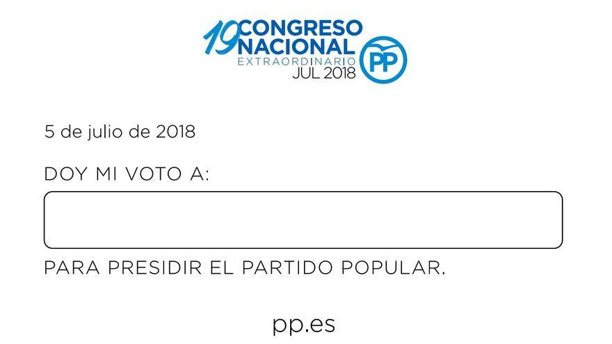 Modelo de papeleta para votar al candidato o candidata a presidir el PP. / PP