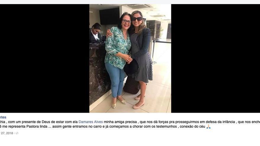 Tía Jo y Damares Alves. Reproducción de Facebook.