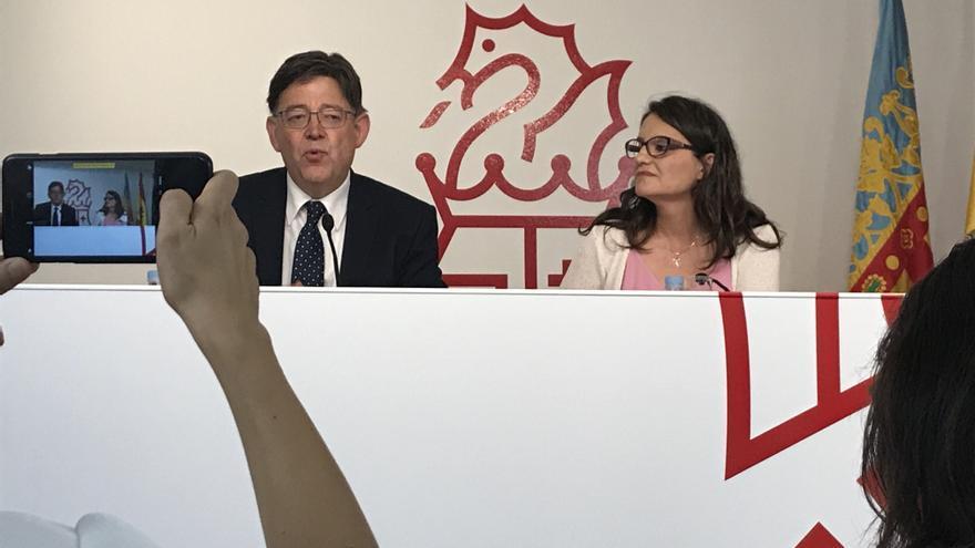 Puig y Oltra, este viernes en el balance de tres años de Gobierno entre PSPV y Compromís, con el apoyo de Podemos.