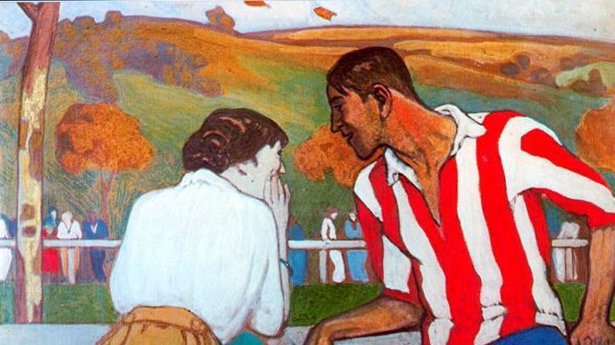 'Diálogo en el campo de sport'.Óleo de Aurelio Arteta. Club Athletic de Bilbao