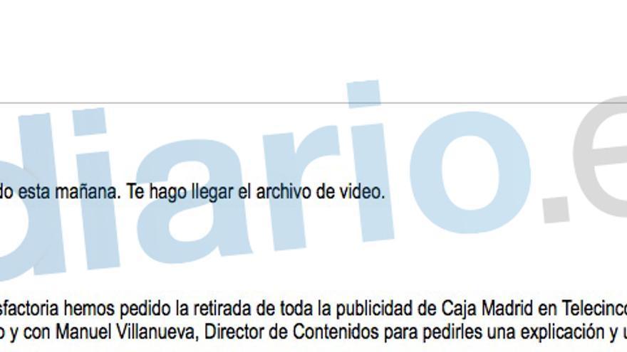 Principio del correo a Miguel Blesa donde se detellan las medidas tomadas y a tomar contra Telecinco por la broma de Los Serrano