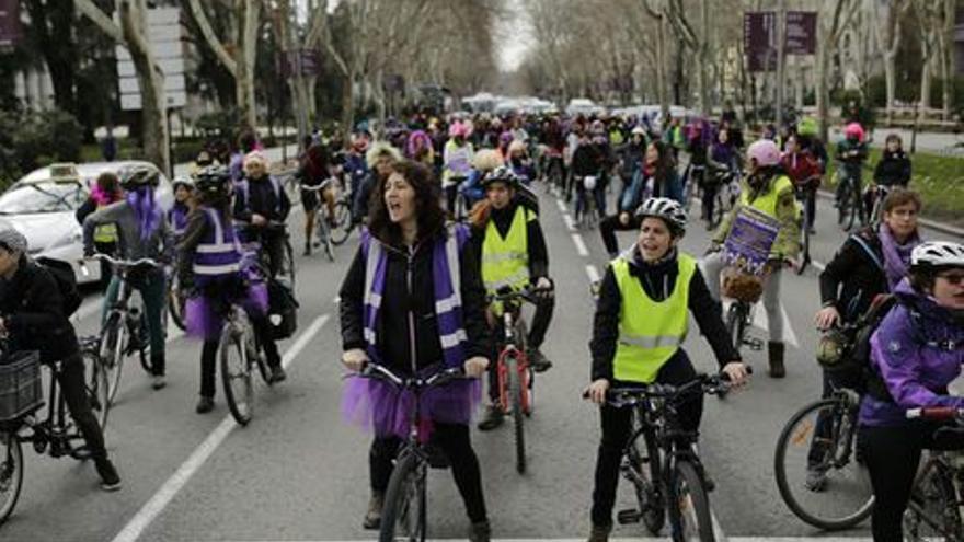 Un momento del bicipiquete feminista organizado el pasado 8 de marzo en Madrid / Foto cedida