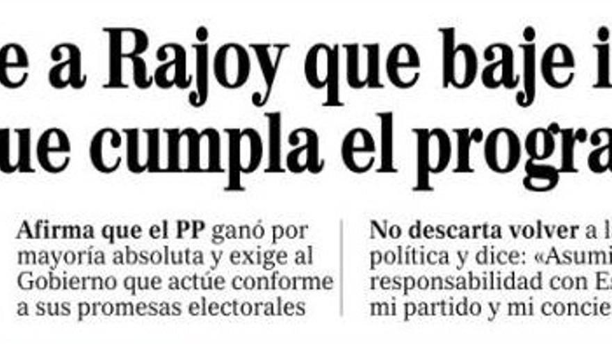 Titular de la portada de El Mundo.