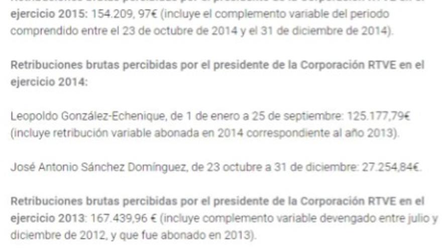Captura de la información que aparecía hasta ahora sobre el sueldo de 2015