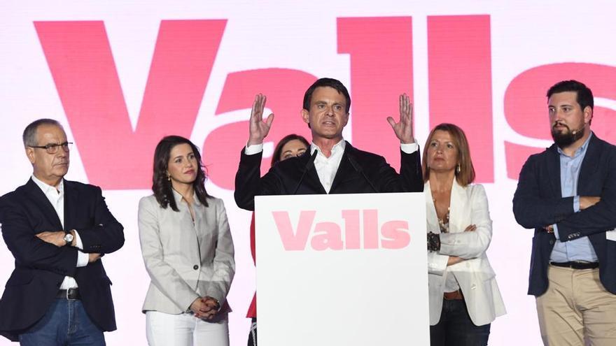 Manuel Valls, durante el acto central de su campaña en Barcelona.