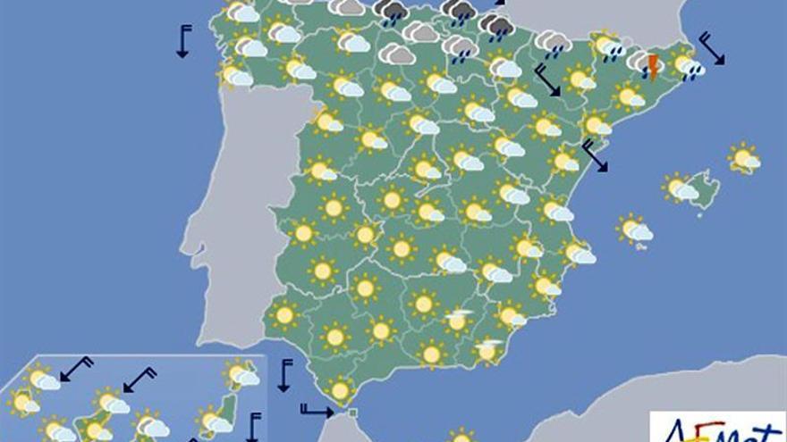 Hoy, lluvias fuertes en Cataluña y viento muy fuerte en la desembocadura  del Ebro
