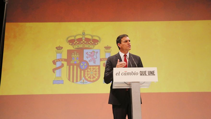 Pedro Sánchez durante su discurso en el Teatro Circo Price. / Flickr PSOE