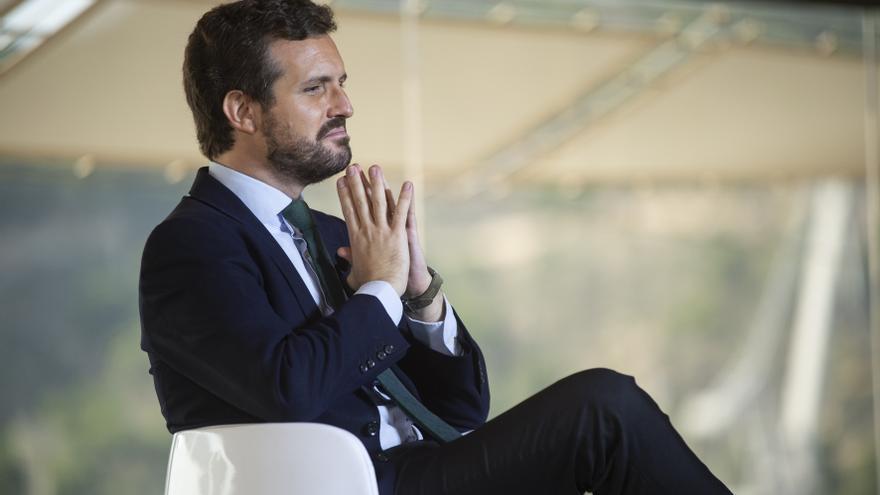 El presidente del Partido Popular, Pablo Casado, en la mesa 'Crecimiento contra la desigualdad', en el marco de la Convención Nacional del PP, en Cartagena, Murcia,