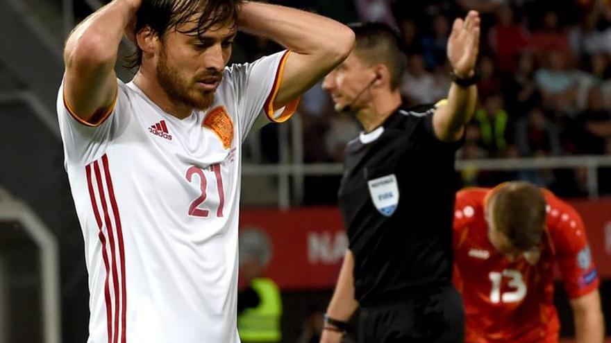 David Silva en el partido ante Macedonia