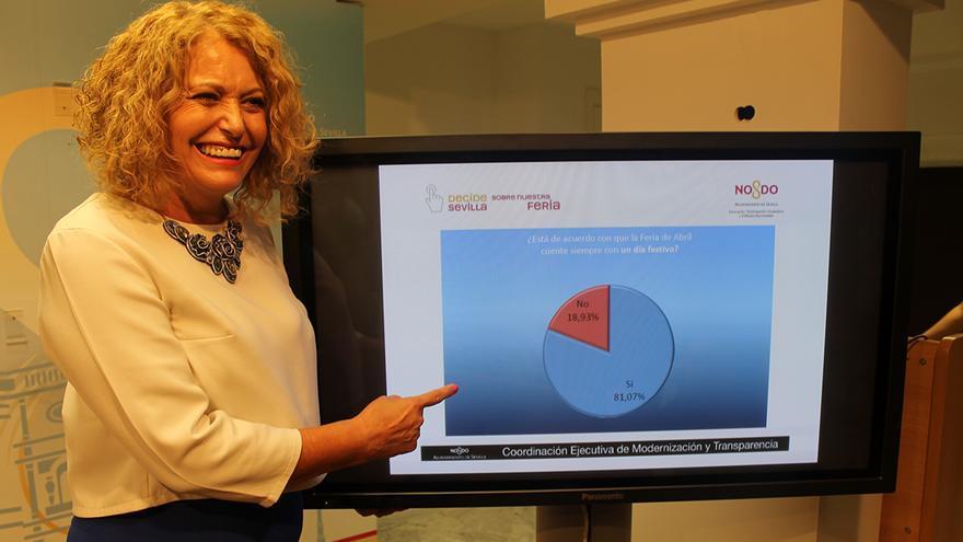 La delegada de Participación Ciudadana, Adela Castaño, ofrece los datos del referéndum sobre la Feria de Abril. / JUAN MIGUEL BAQUERO