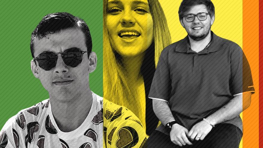 Aidan, Noelia y Gabriel, tres de los jóvenes que han asistido a los talleres de las organizaciones LGTBI