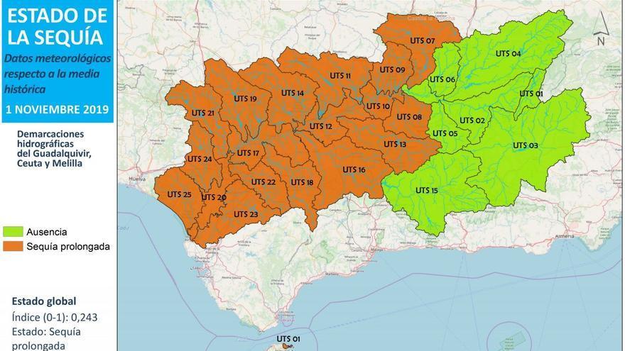 El informe sitúa la demarcación hidrográfica del Guadalquivir en un estado de sequía prolongada.