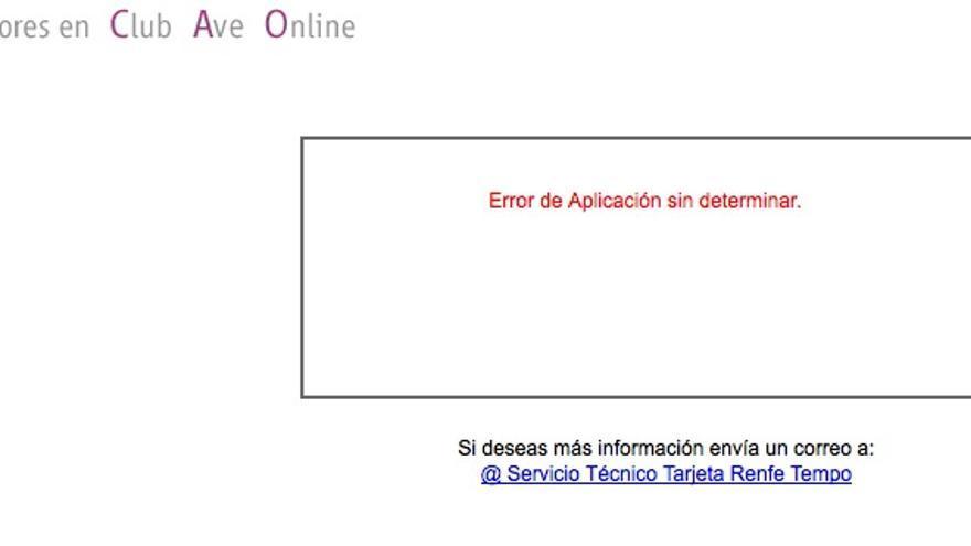 Error en el club Ave Online