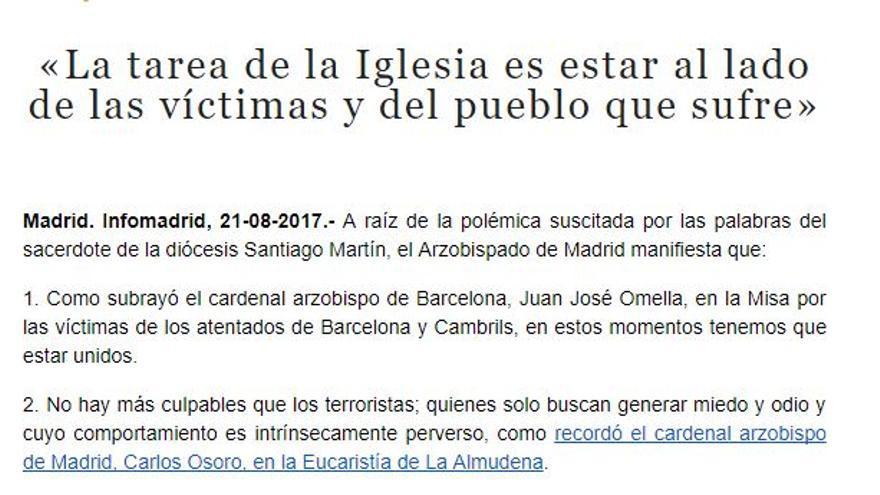 Comunicado de la Archidiócesis de Madrid
