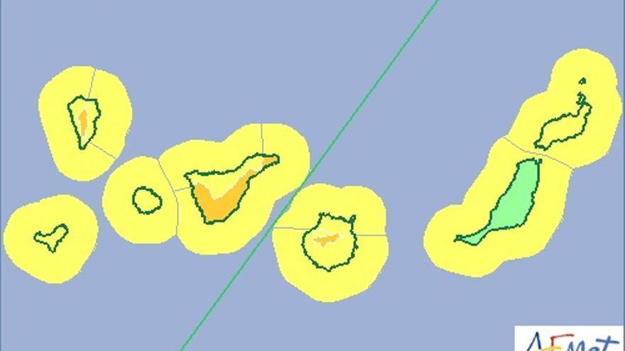 Mapa de la Aemet de aviso de riesgo por viento y fenómero costeto para este martes.