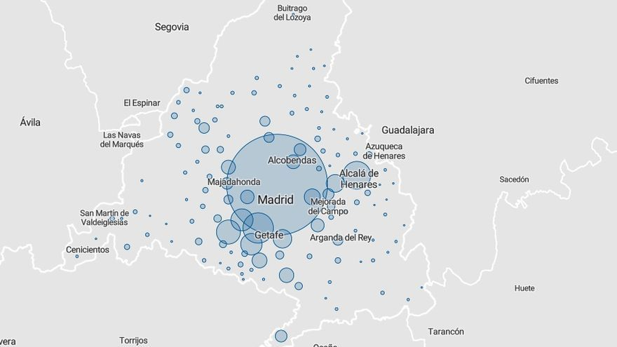 Mapa de casos en la Comunidad de Madrid