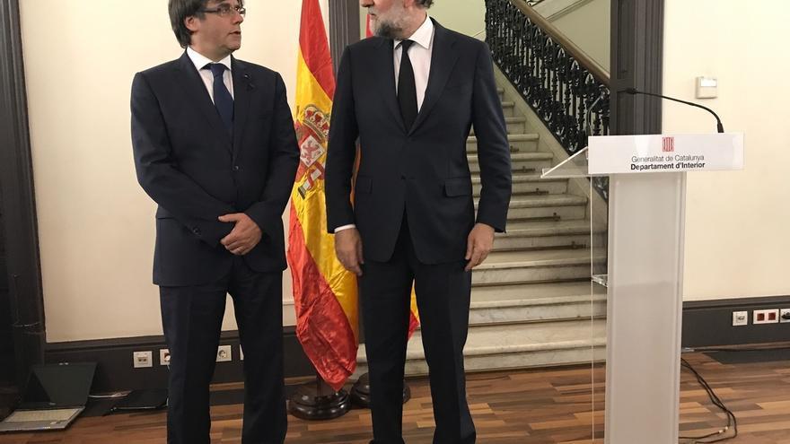Rajoy y Puigdemont, el pasado 18 de agosto, tras los atentados de Barcelona.