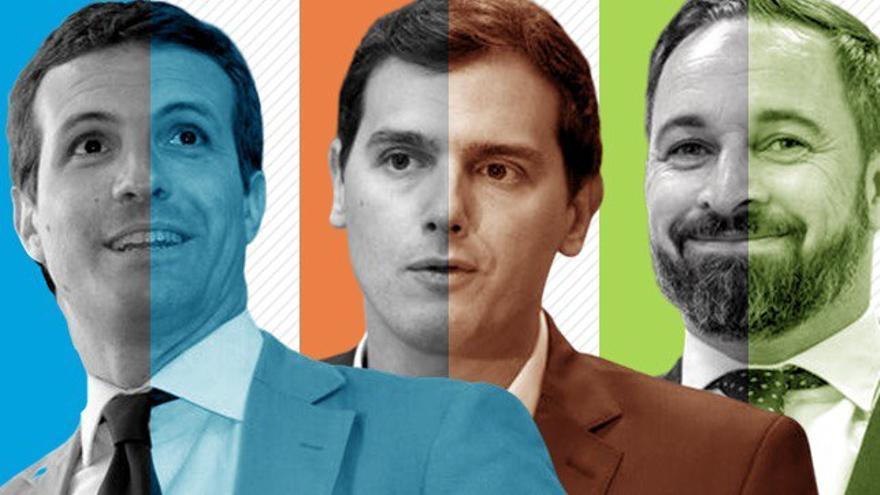 Los líderes del PP, Pablo Casado; Ciudadanos, Albert Rivera; y Vox, Santiago Abascal
