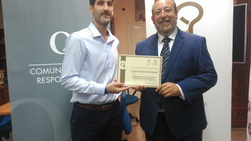 Aguas de Murcia obtiene el Sello de Comunicación Responsable del Colegio Oficial de Periodistas