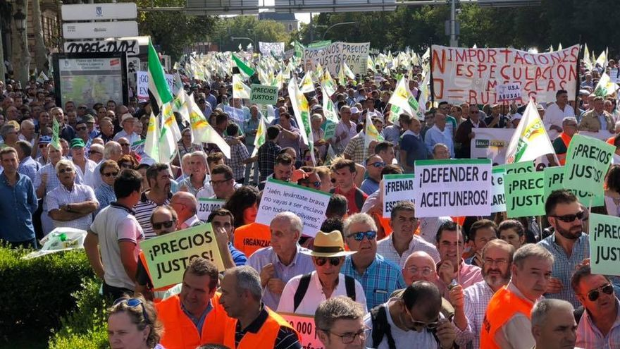 Manifestación de olivareros en Madrid