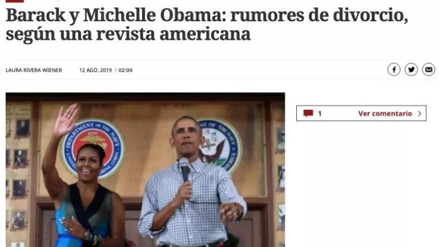 """Nota del """"divorcio"""" de los Obama en el diario El Mundo."""