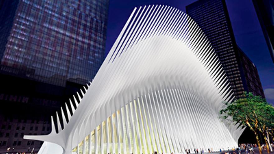 Una maqueta de la estación de tren de Calatrava en Nueva York.