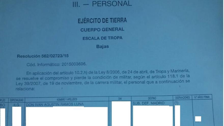 Notificación de la baja de las Fuerzas Armadas de Iván Ramos