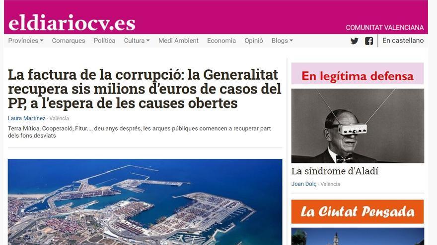 La portada de l'edició en valencià d'eldiariocv.es.