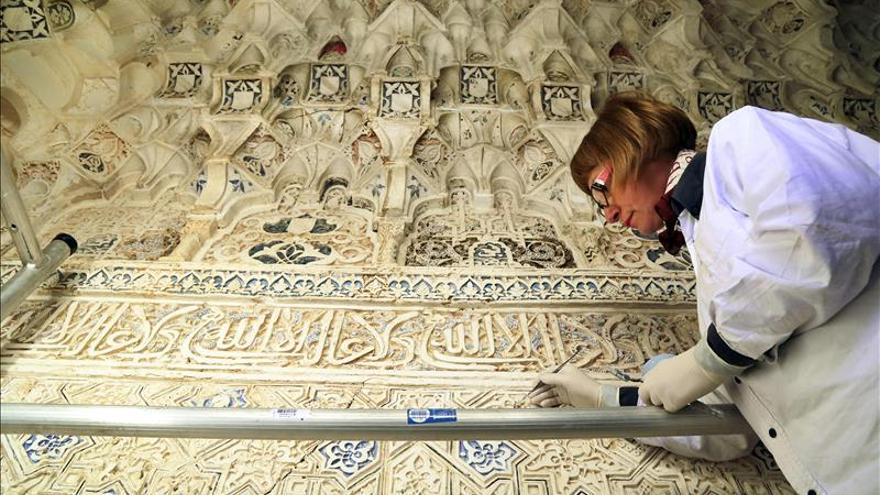Hallan ocultos en el Patio de los Leones, en la Alhambra, dibujos nazaríes de diseño inusual
