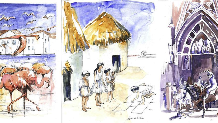 Ilustraciones de 'La isla del arroz'. | ÁNGELES DE LA TORRE