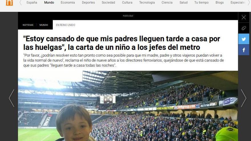 Noticia publicada en Antena 3.