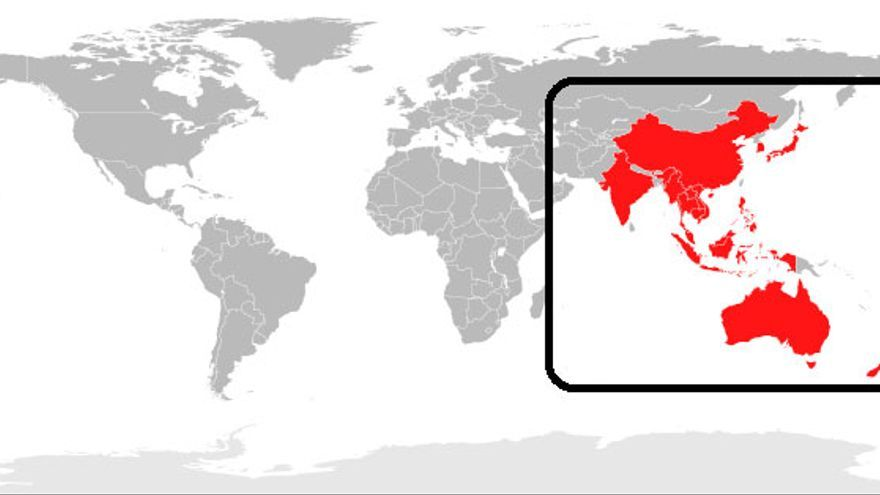 Ámbito territorial que agruparía el RCEP.