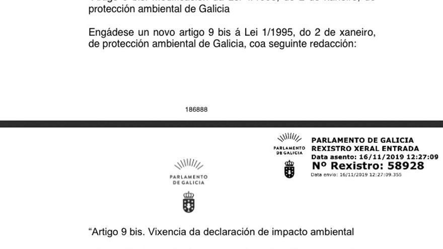 Emenda presentada polo PP á lei de acompañamento da Xunta