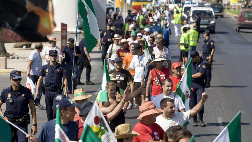 La marcha del SAT reanuda su recorrido hacia la capital almeriense