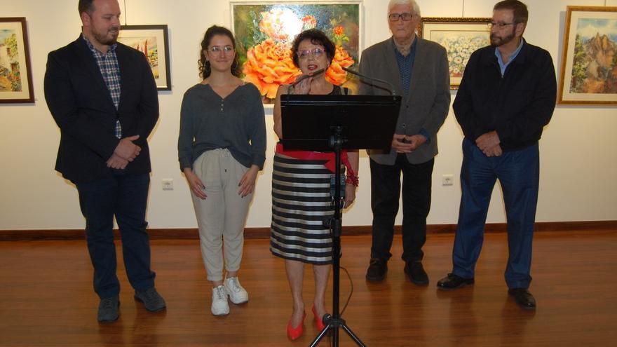 Florentina Pérez durante el acto de inauguración de la muestra.