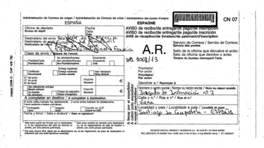Envío devuelto del juzgado del Alvia a la plaza de la estación de trenes de Valenciennes (Francia) y no a la sede de la UE en esa ciudad
