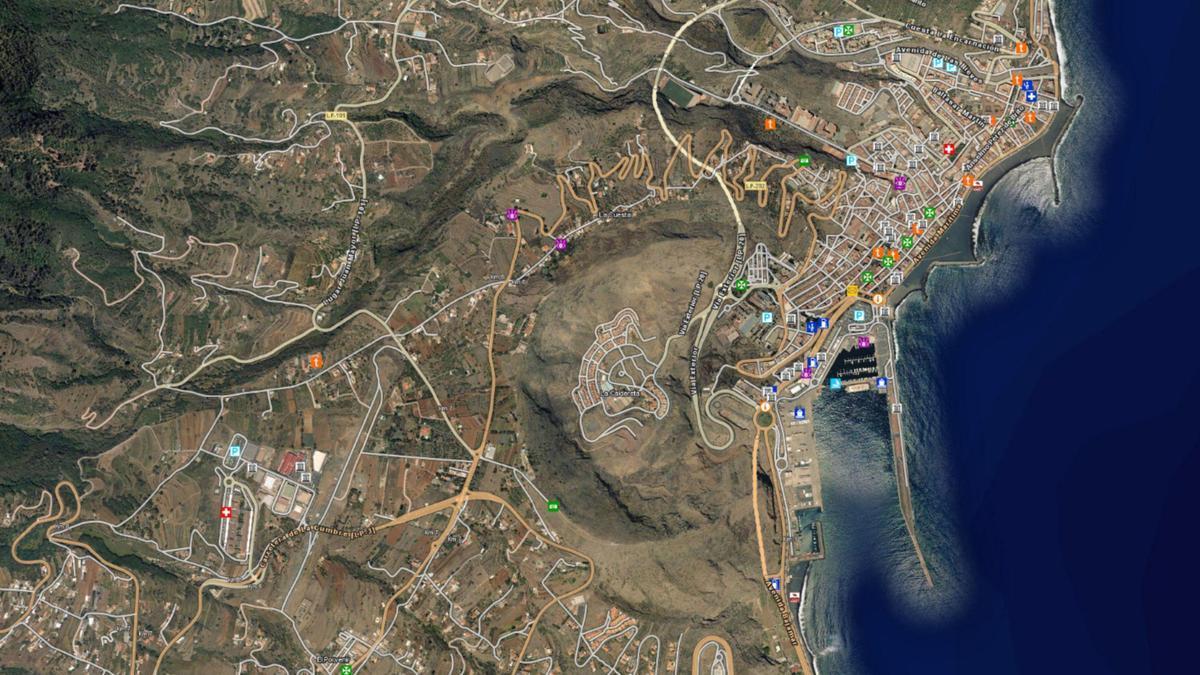 Imagen del municipio de Santa Cruz de La Palma y alrededores captada del visor https://visor.grafcan.es/