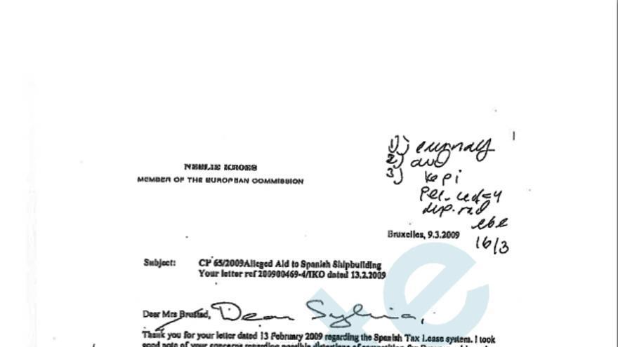 Carta de la comisaria Kroes