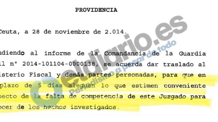 Providencia de la jueza instructora en la que se pide a las partes su opinion sobre una posible falta de competencia