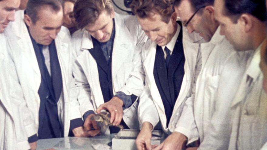 Científicos soviéticos examinan ejemplares de cosmotortugas (energia.ru)