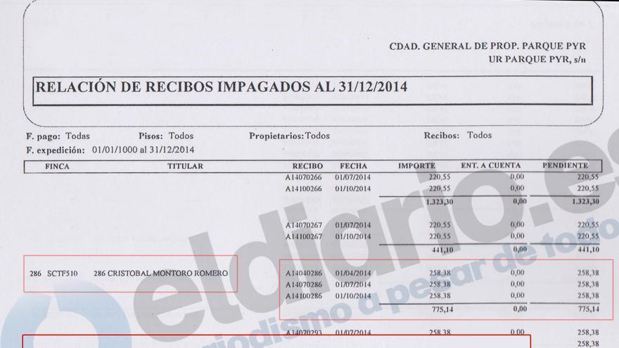 Relación de recibos impagados en la que figura Cristóbal Montoro por deber la comunidad de vecinos de su casa en Guadarrama