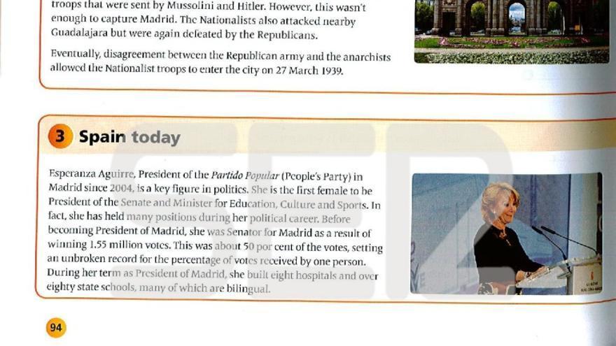 Imagen del libro de texto según aparece en la web de la Cadena Ser