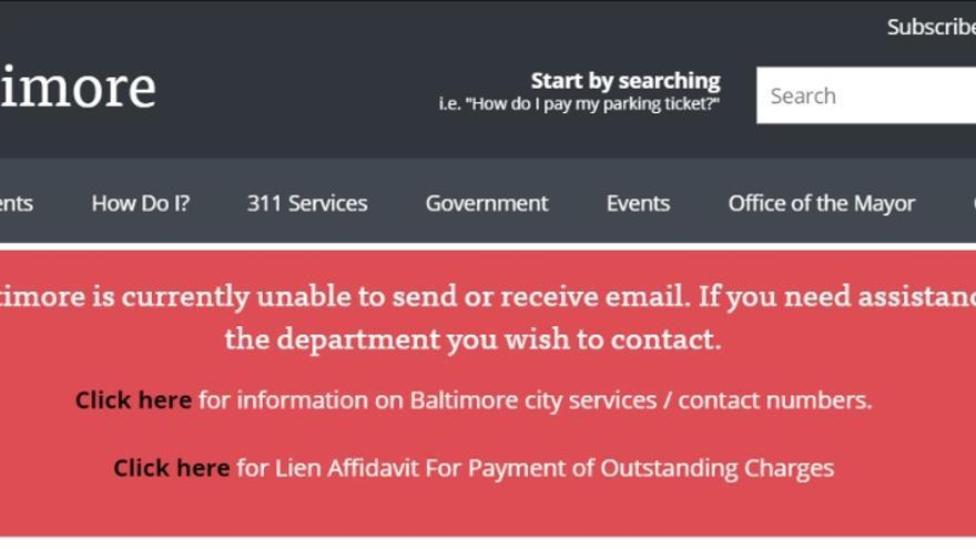 Mensaje en la página web del gobierno de Baltimore que avisaba de la inutilización de los correos electrónicos tras el ciberataque.