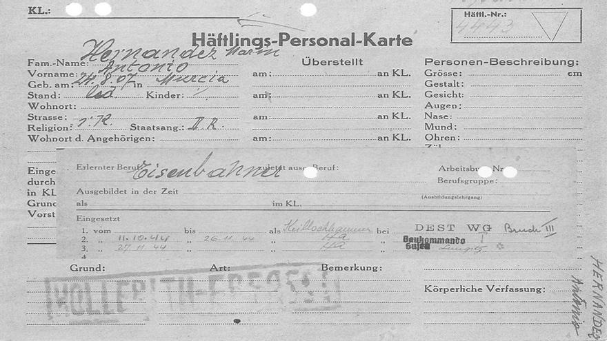 "La ficha de un ""Rotspanier"" en Mauthausen"
