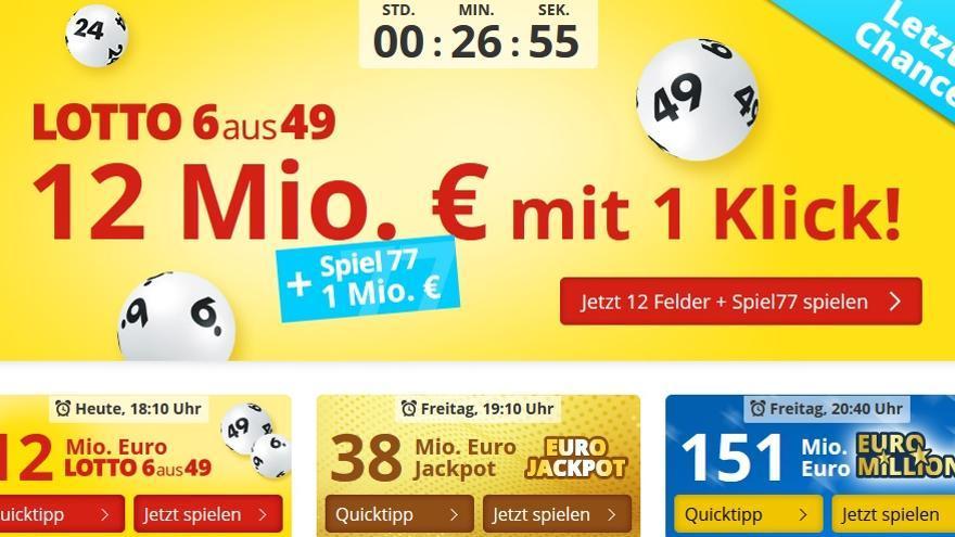 Captura de pantalla de la web lottohelden.de con sede en Gibraltar