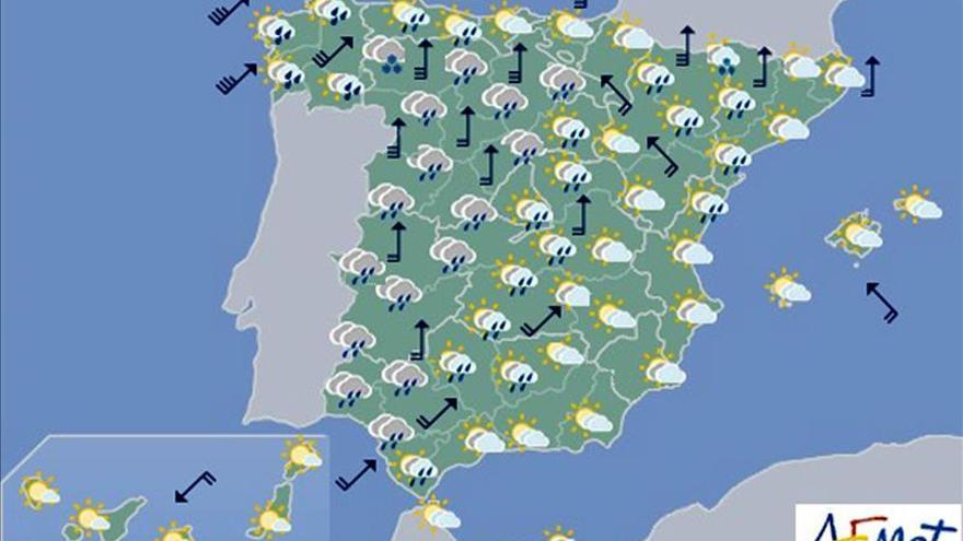 Hoy viento fuerte en el noroeste y lluvias en el extremo oeste peninsular