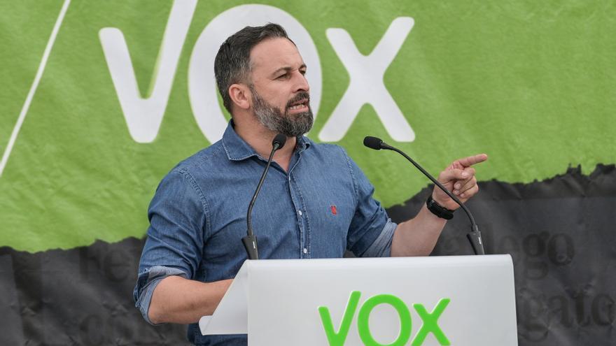 El presidente de Vox, Santiago Abascal, durante el acto electoral de Vox en A Coruña, a 4 de julio de 2020.