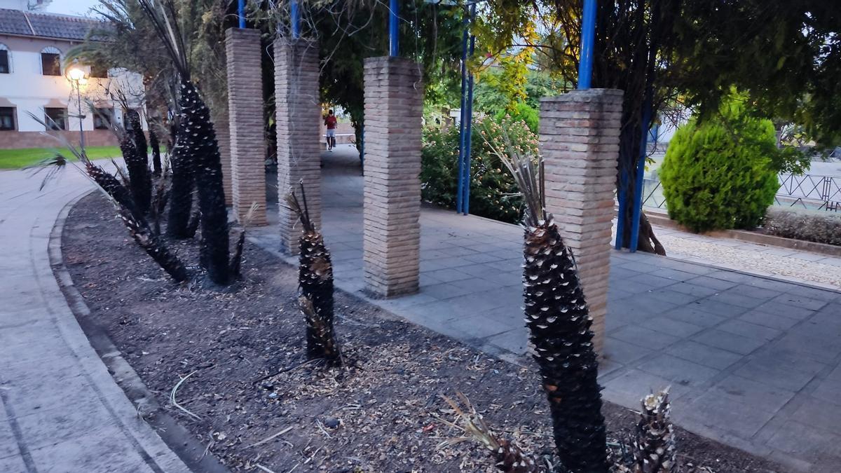 Zona que ha ardido en el Jardín de los Poetas