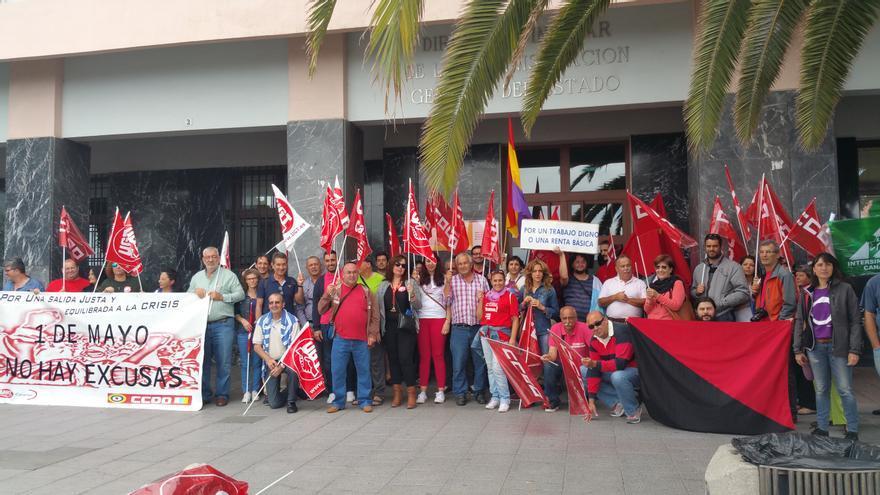 Concentración del Día Internacional de los Trabajadores celebrada este lunes. Foto: LUZ RODRÍGUEZ.