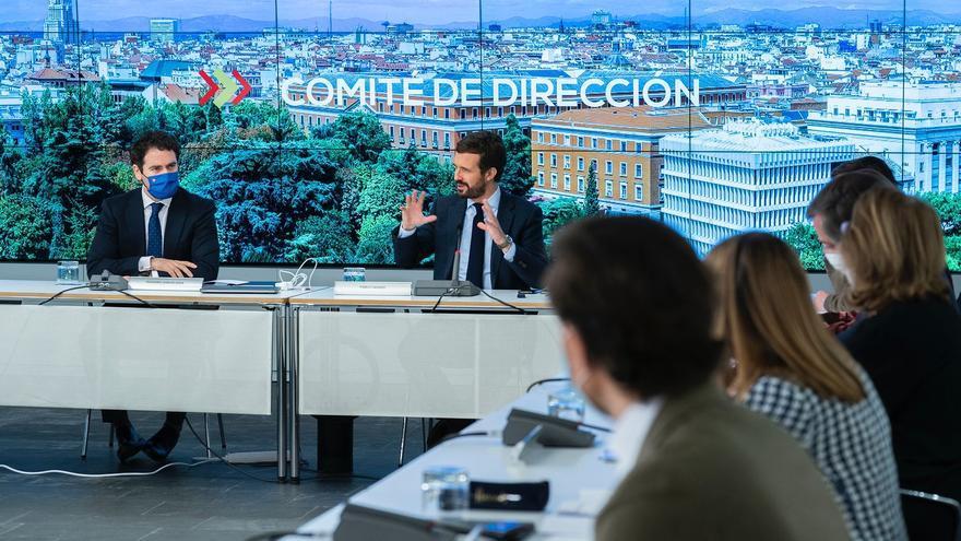 El líder del PP, Pablo Casado, reúne al comité de dirección del PP para explicar los escollos de la negociación con el PSOE para renovar el CGPJ. En Madrid, a 26 de febrero de 2021.